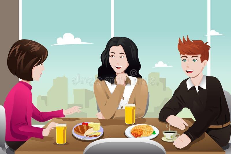 Gens d'affaires mangeant ensemble illustration libre de droits