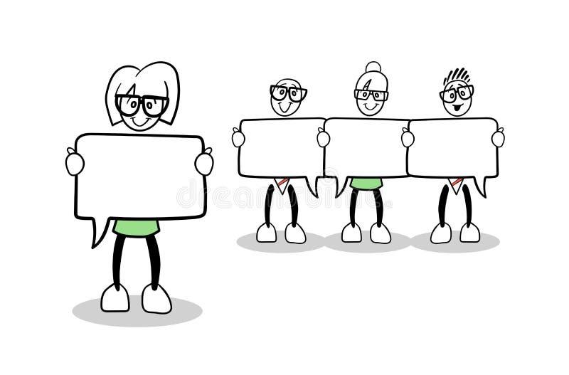Gens d'affaires mignons de bande dessinée avec des bulles de la parole illustration stock