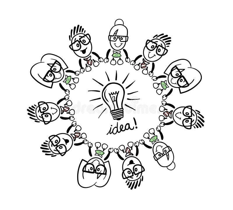 Gens d'affaires mignons de bande dessinée se reliant autour d'une ampoule illustration libre de droits
