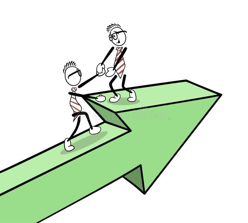 Gens d'affaires mignons de bande dessinée sur une flèche illustration stock