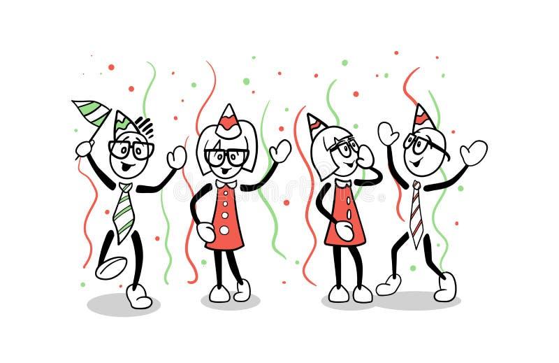 Gens d'affaires mignons de faire la fête de bande dessinée illustration de vecteur