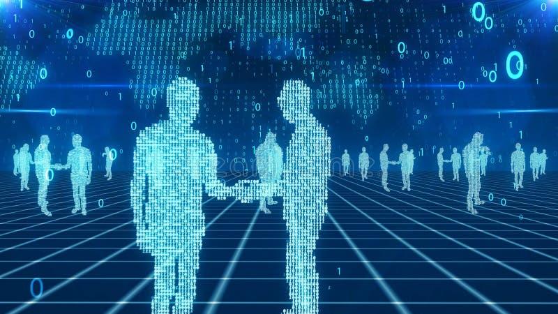Gens d'affaires numériques dans le cyberespace illustration de vecteur