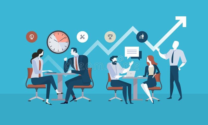 Gens d'affaires plats de concept de conception pour la gestion des projets, réunion d'affaires, procédé de fonctionnement illustration libre de droits