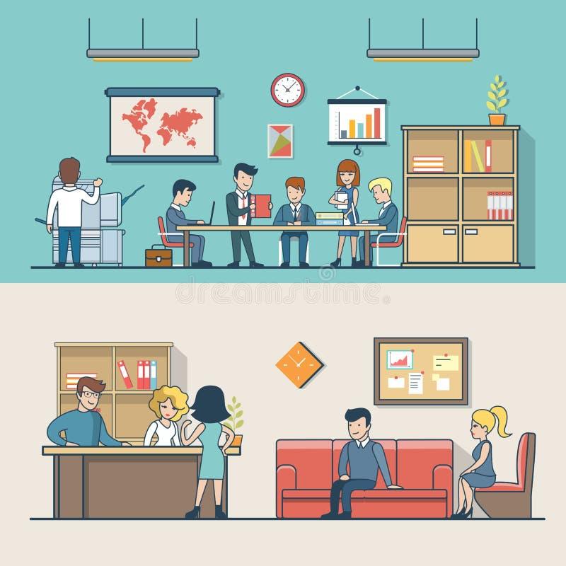 Gens d'affaires plats linéaires de clients de lieu de travail illustration libre de droits
