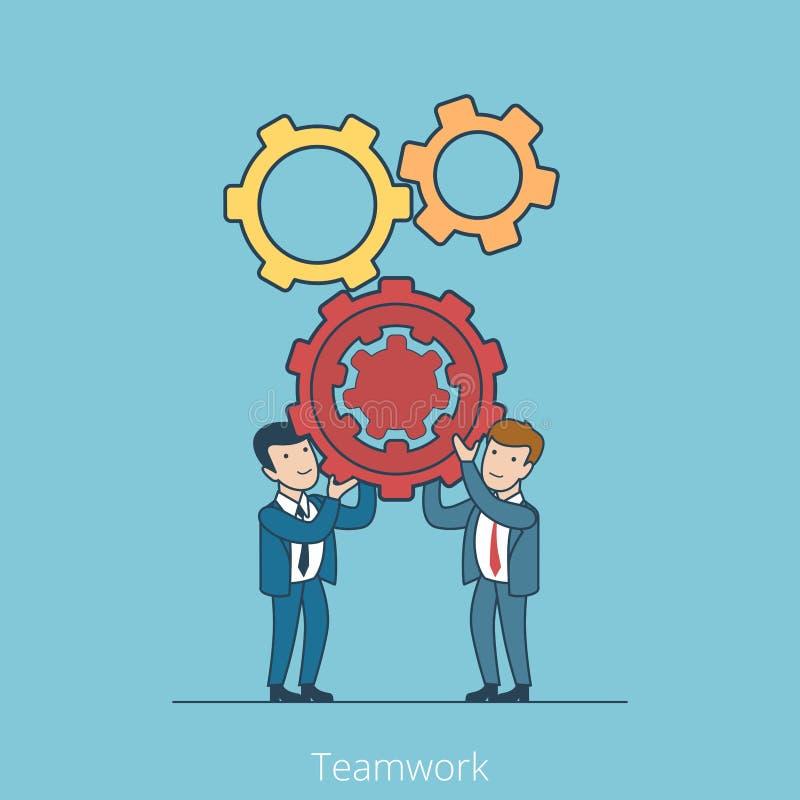 Gens d'affaires plats linéaires de travail d'équipe tenant le gearw illustration stock