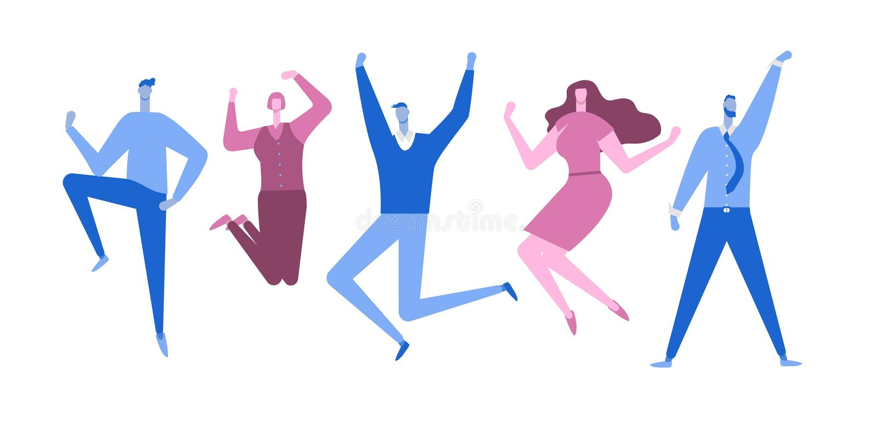 Gens d'affaires sautants Gens heureux Style plat Illustration de vecteur illustration stock