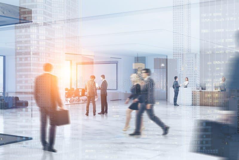 Gens d'affaires se précipitant par le bureau, ville illustration libre de droits