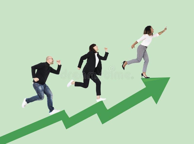 Gens d'affaires se précipitant vers le succès illustration libre de droits