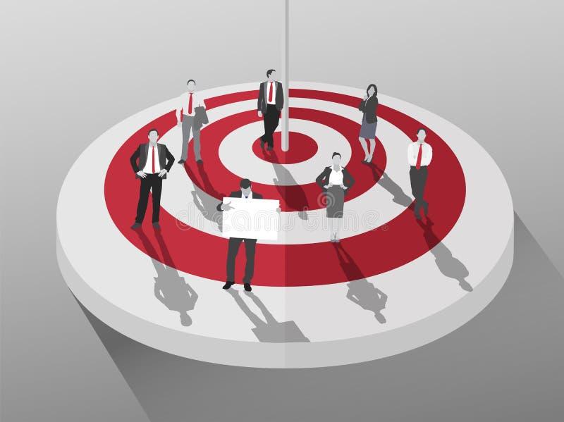 Gens d'affaires se tenant autour de la cible rouge et blanche illustration stock