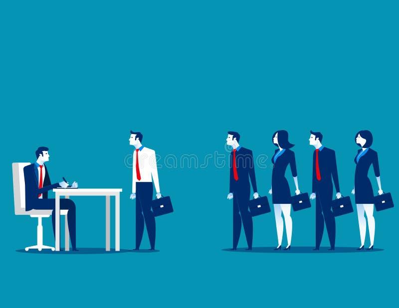 Gens d'affaires se tenant dans la file d'attente d'entrevue Affaires VE de concept illustration libre de droits