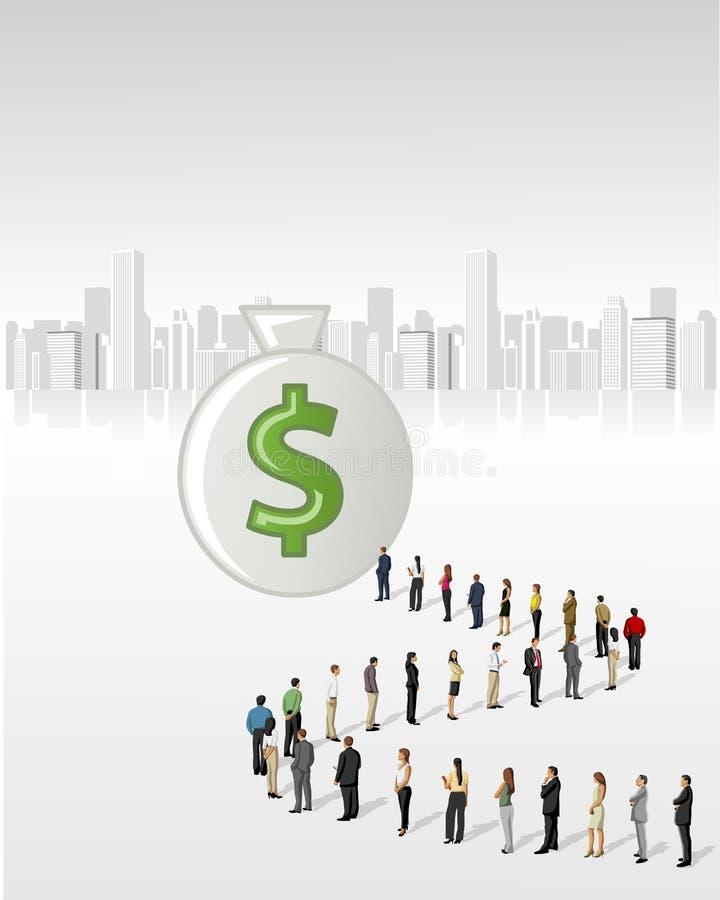 Gens d'affaires se tenant dans une ligne pour atteindre un sac d'argent illustration libre de droits