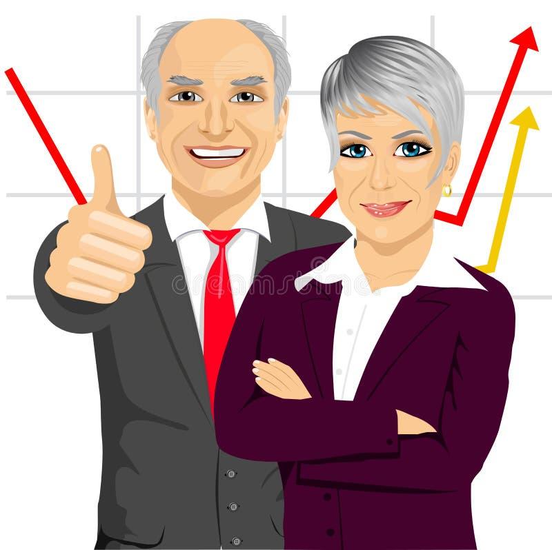 Gens d'affaires supérieurs d'associés se tenant ainsi que des bras pliés illustration stock
