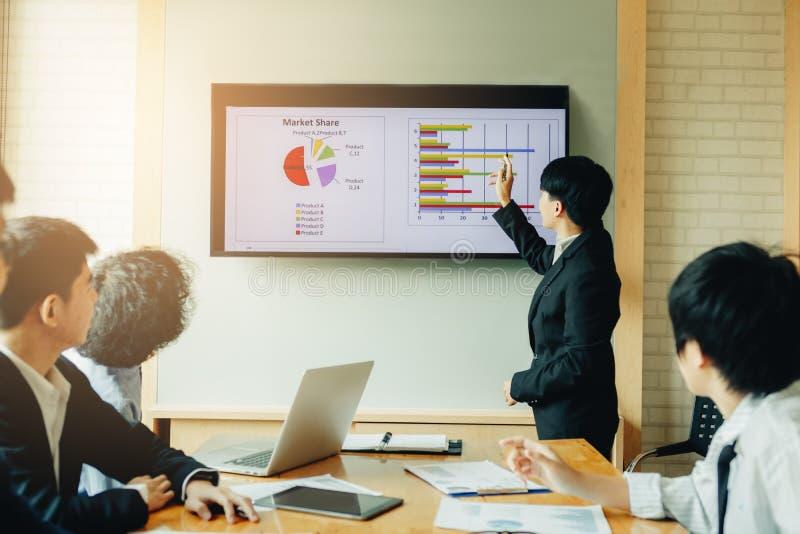 Gens d'affaires travaillant le résumé de coût de budget de finances de présentation photo stock