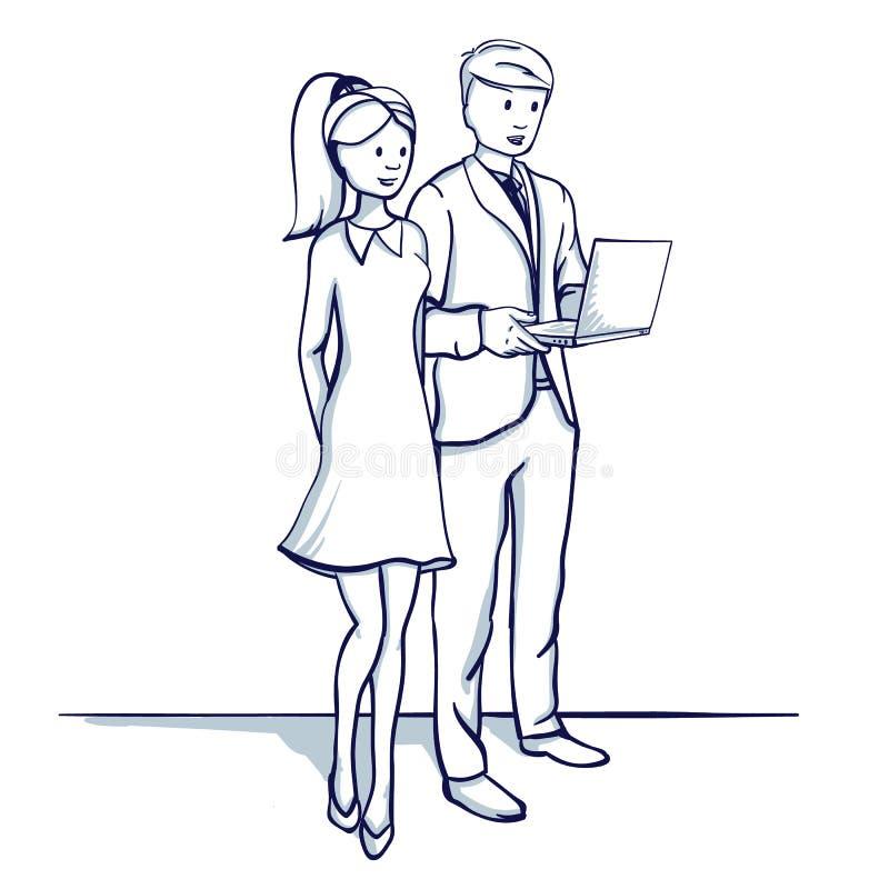 Gens d'affaires : un homme et une femme discutent le processus d'affaires illustration stock