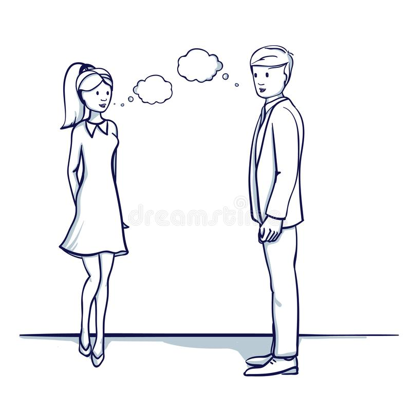 Gens d'affaires : un homme et une femme parlent illustration de vecteur