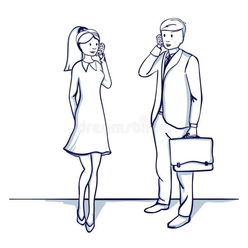 Gens d'affaires : un homme et une femme parlent au téléphone illustration libre de droits