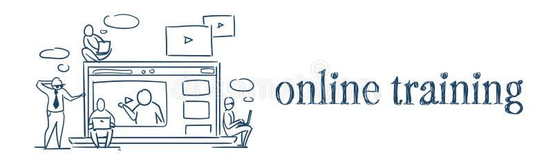Gens d'affaires webinar de concept de vidéo de formation en ligne de media player s'asseyant sur des videoblogs d'ordinateur port illustration de vecteur
