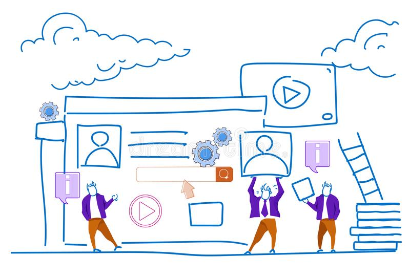 Gens d'affaires webinar visuels en ligne de concept de profil de media player travaillant ensemble le griffonnage de croquis hori illustration stock