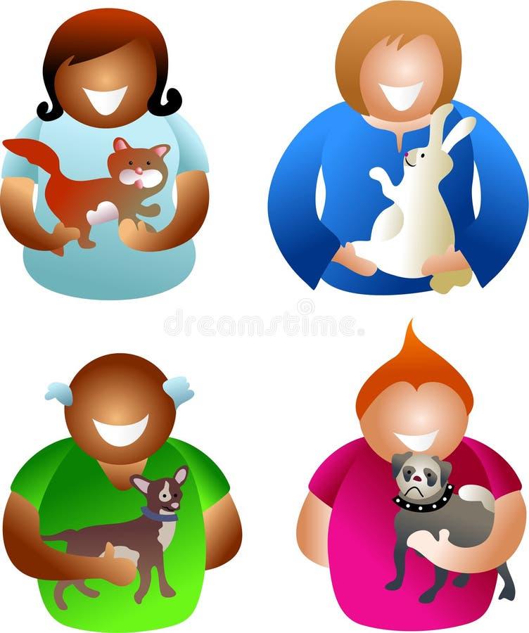 Gens d'animal familier illustration stock