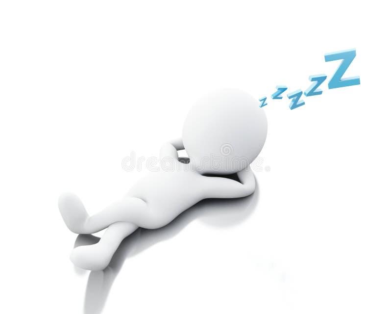 gens 3d blancs fatigués illustration de vecteur