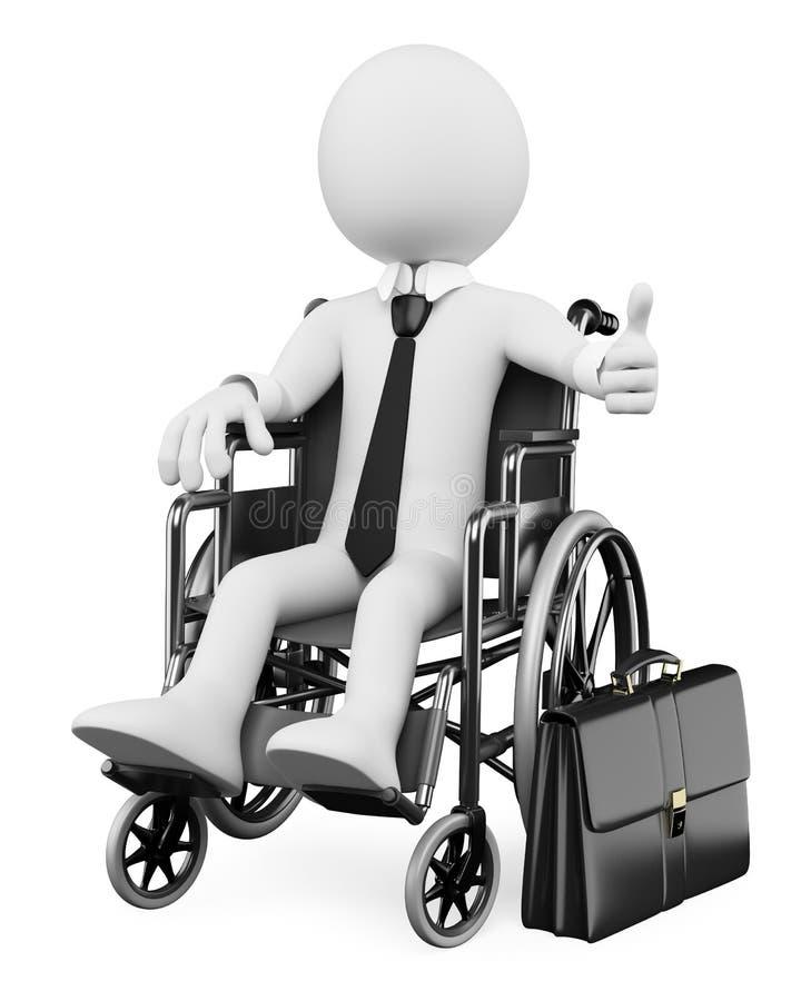 gens de blanc des affaires 3D. Homme d'affaires handicapé illustration stock
