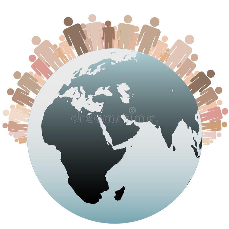 Gens de symbole en tant que population diverse de la terre illustration libre de droits