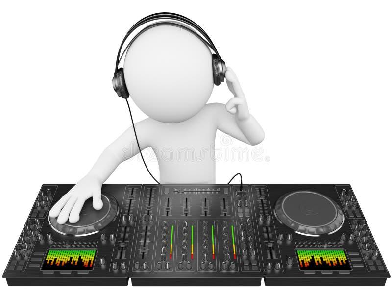 gens du blanc 3D. Le DJ avec un mélangeur illustration libre de droits