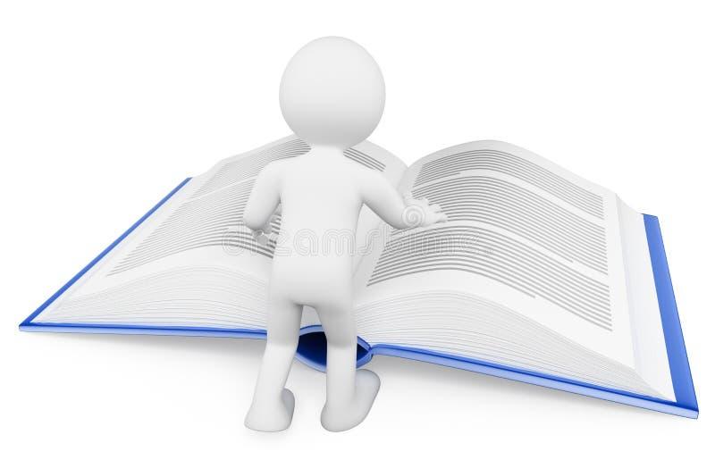 gens du blanc 3d Affichage d'un livre Apprentissage du concept illustration stock