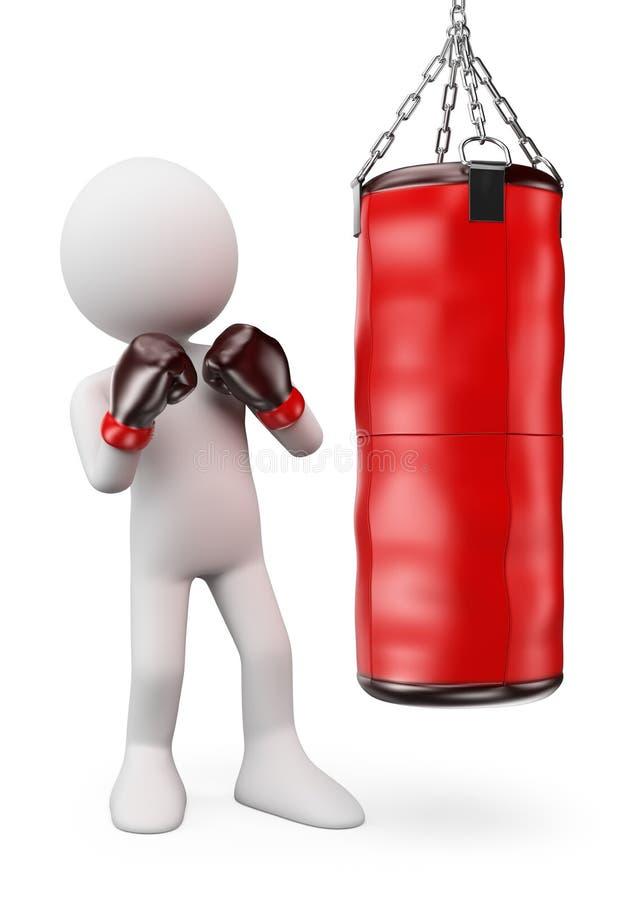 gens du blanc 3d Boxeur frappant un sac de sable illustration stock