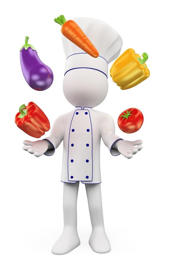 gens du blanc 3d Chef jonglant avec des légumes illustration stock