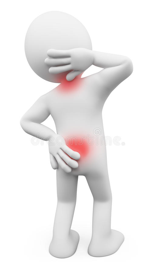 gens du blanc 3d Homme avec les douleurs de dos et le cou illustration stock