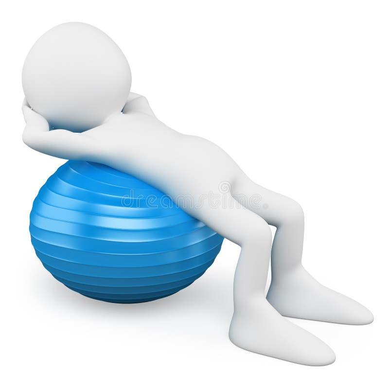 gens du blanc 3d Homme s'exerçant avec une boule d'aérobic illustration stock