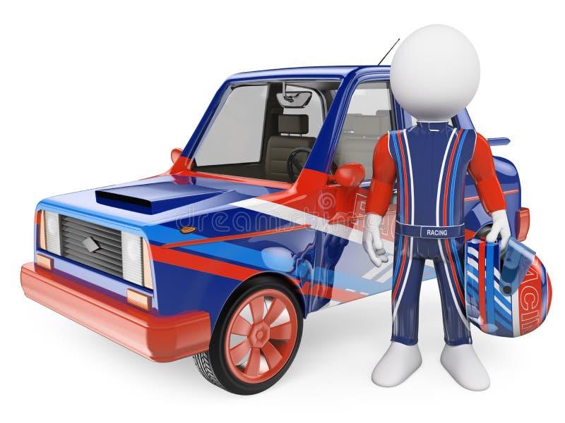 gens du blanc 3d Pilote de course avec sa voiture illustration de vecteur