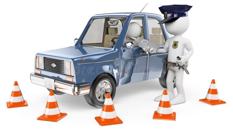 gens du blanc 3d Police effectuant un breathalyser illustration de vecteur