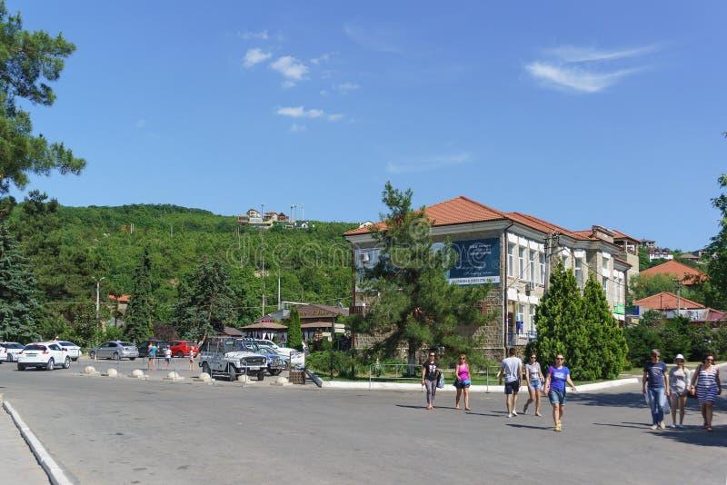 Gens du pays et touristes marchant sur la rue de Promyshlennaya un jour ensoleillé d'été image libre de droits