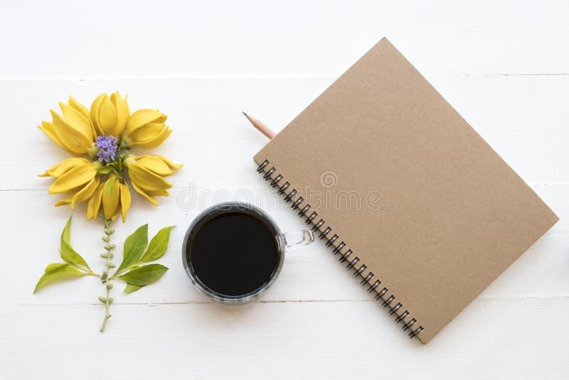 Gens du pays jaunes de fleurs de ylang de Ylang de l'Asie avec du café image libre de droits