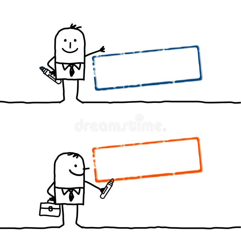 Gens et estampille blanc 1 de dessin animé illustration stock