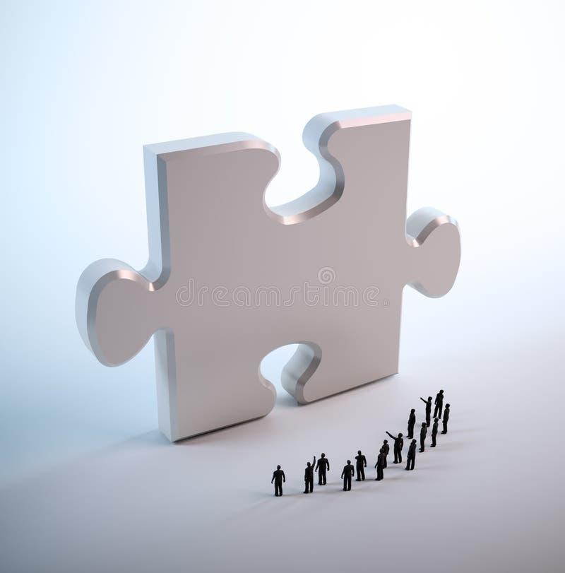 Gens minuscules regardant un puzzle illustration de vecteur
