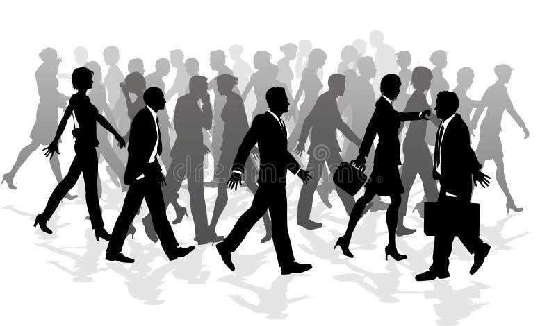 Gens se précipitants de marche de foule d'affaires illustration stock