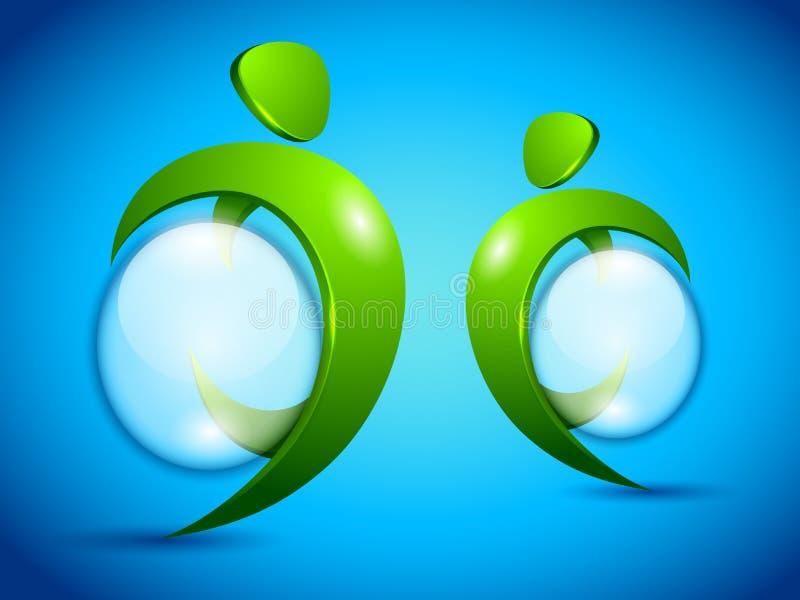 Gens verts de vecteur avec la bulle de l'eau illustration de vecteur