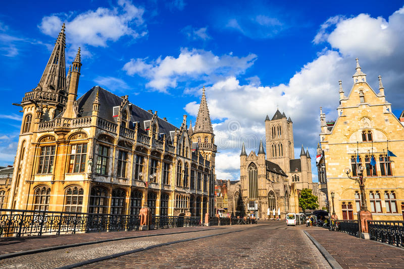 Gent, Belgium. Medieval city of Ghent in Flanders with Saint Nicholas Church and Belfry tower, one of famous landmarks of Belgium royalty free stock images