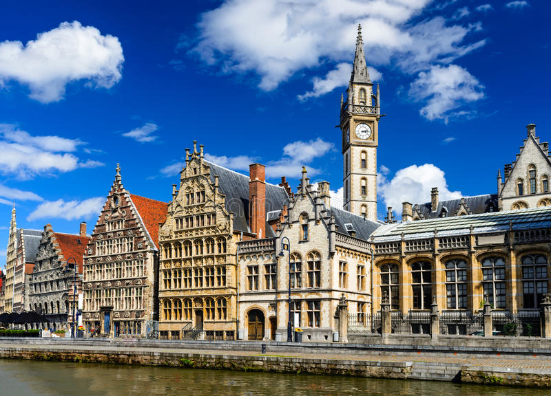 Gent, Belgium. Panorama of Graslei, historical center of Gent with medieval house facades, West Flanders in Belgium royalty free stock photography