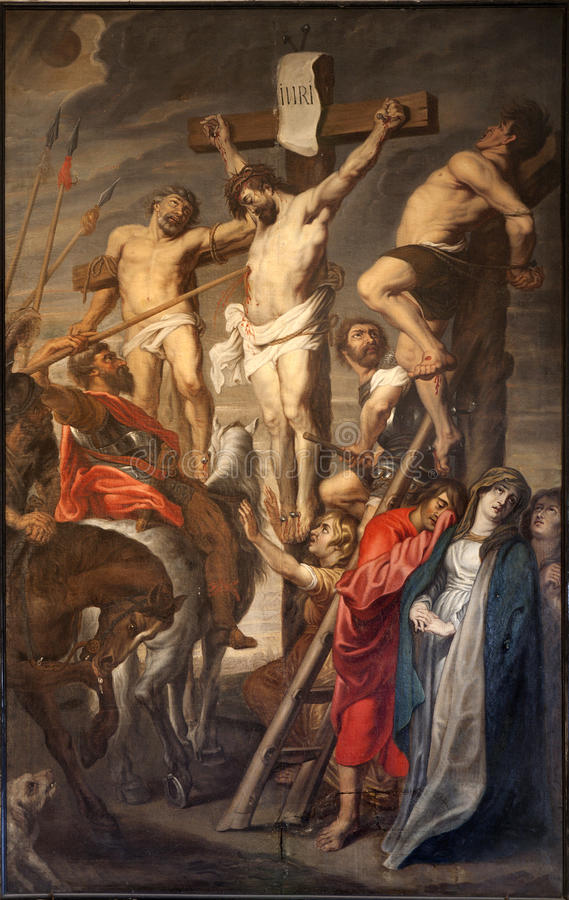 GENT - Christ na cruz - Rubens foto de stock
