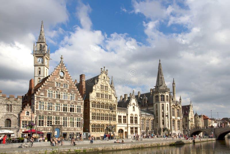 Gent Graslei op de waterkant in België royalty-vrije stock afbeelding