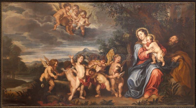 Gent - helig familjmålarfärg i kyrka för St. Peter s royaltyfri bild