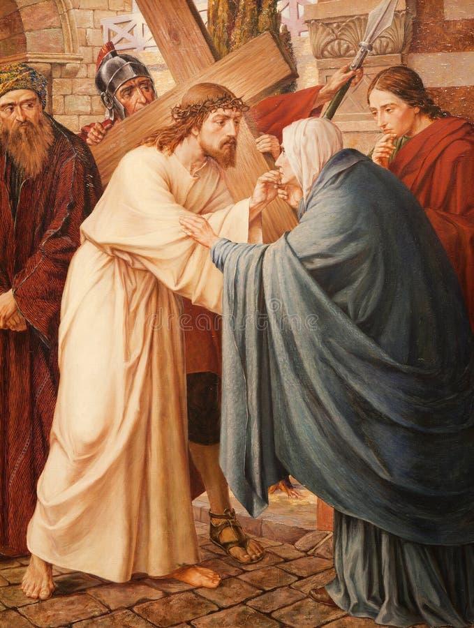 Gent - Jesus och Mary på korset långt. royaltyfri bild
