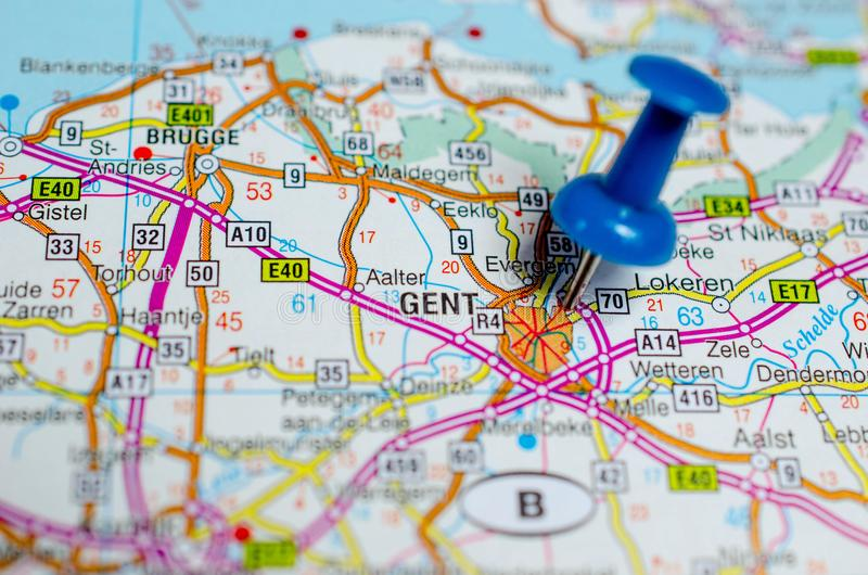 Gent na mapie zdjęcie stock