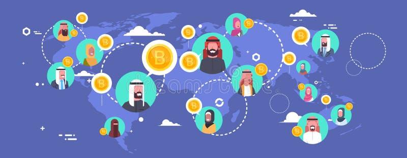 Gente árabe que mina Bitcoins sobre concepto Crypto de la moneda de Digitaces del mapa del mundo de la red moderna del dinero ilustración del vector