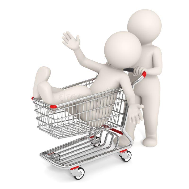 gente 3d con el carro de compras stock de ilustración