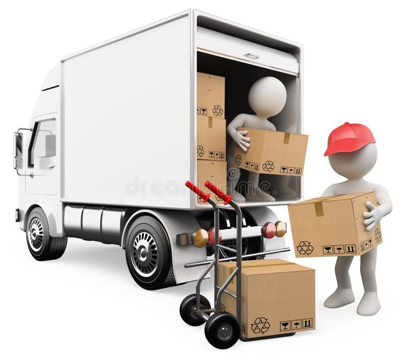 gente 3D. Trabajadores que descargan los rectángulos de un camión stock de ilustración